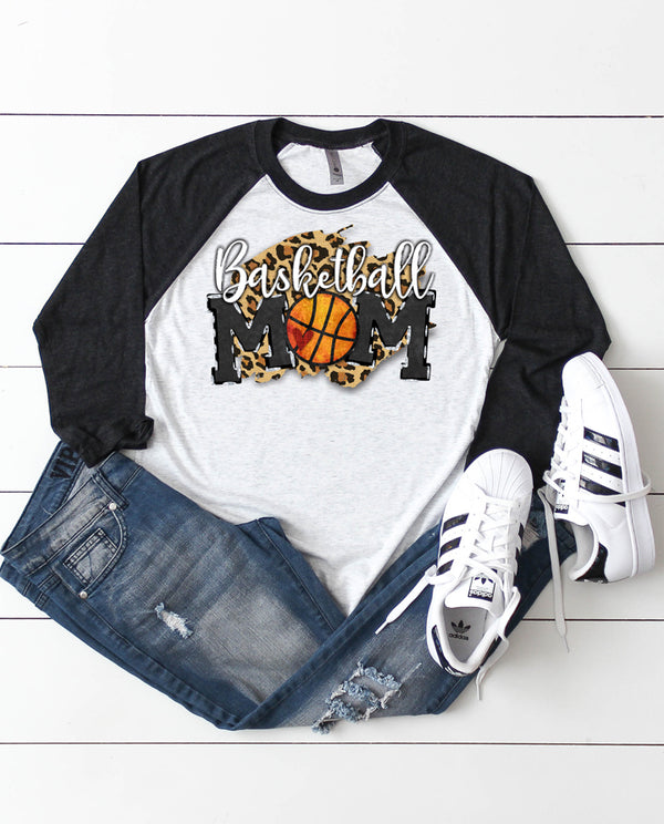 Womens Basketball Mom Leopard Raglan Tee
