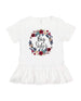 Big sister floral wreath ruffle shirt, big sister announcement shirt
