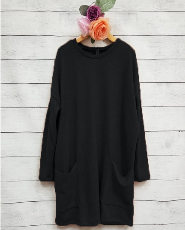 Pomelo Big Girls' Pocket Tunic- Black