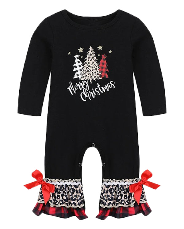 baby girl leopard and buffalo check Christmas tree ruffle romper