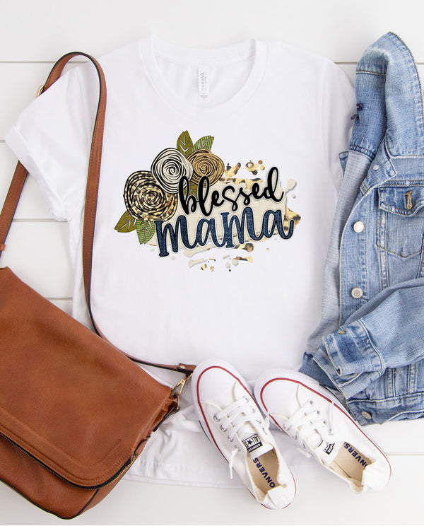 Womens Blessed Mama Leopard Floral Tee