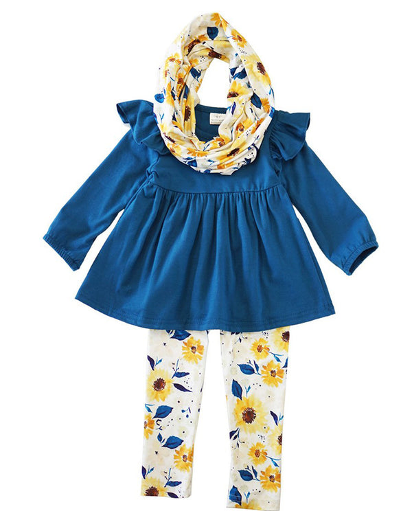 Blue Floral 3 Piece Scarf Set