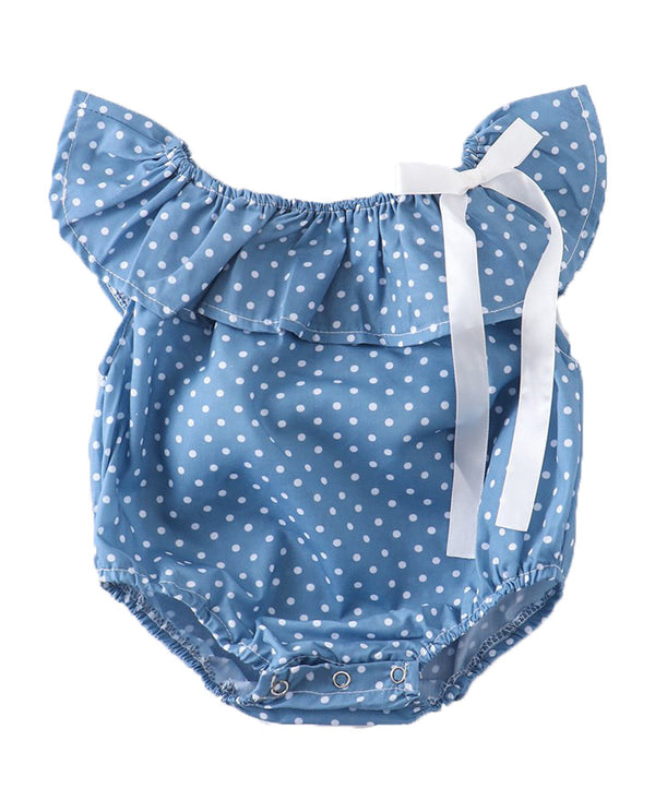 Baby Girls' Blue and White Polka Dot Bubble Romper