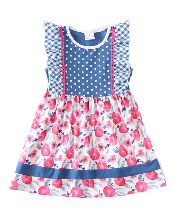 Girls' Pink Floral and Polka Dot Ruffle Dress