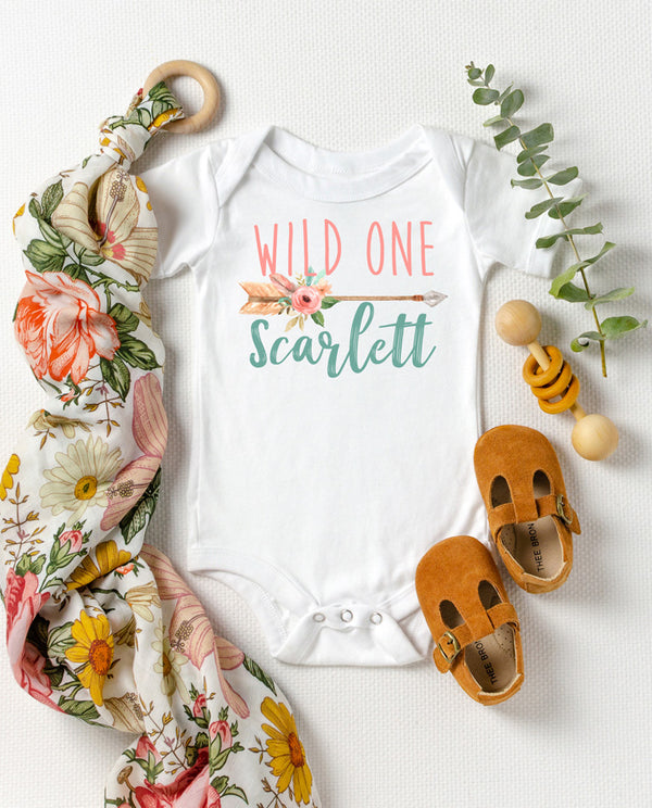 Baby Girl Wild One Boho Floral Arrow first birthday outfit