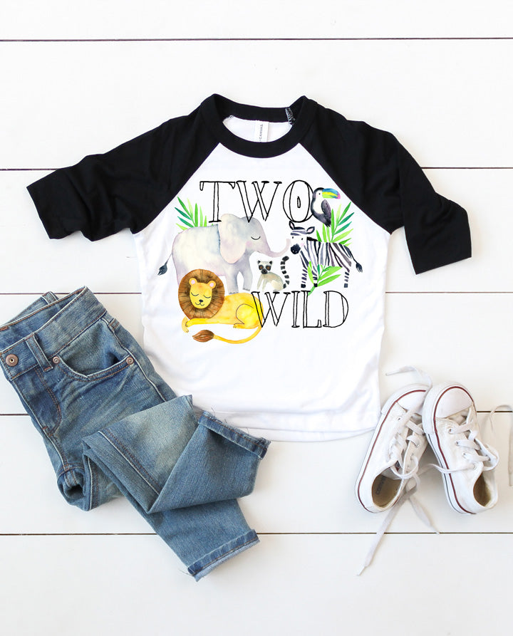 Boys Two Wild Jungle Birthday Raglan