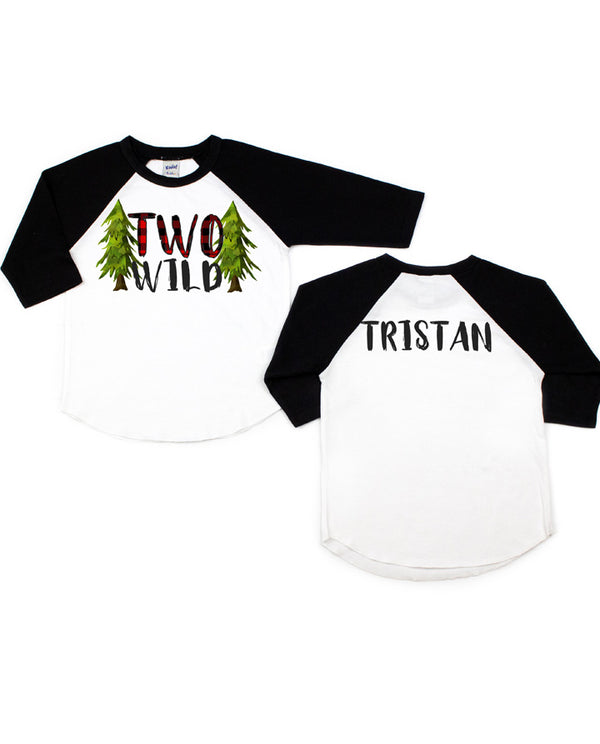 Boys Buffalo Plaid Woodland Forest Two Wild Birthday Raglan Tee