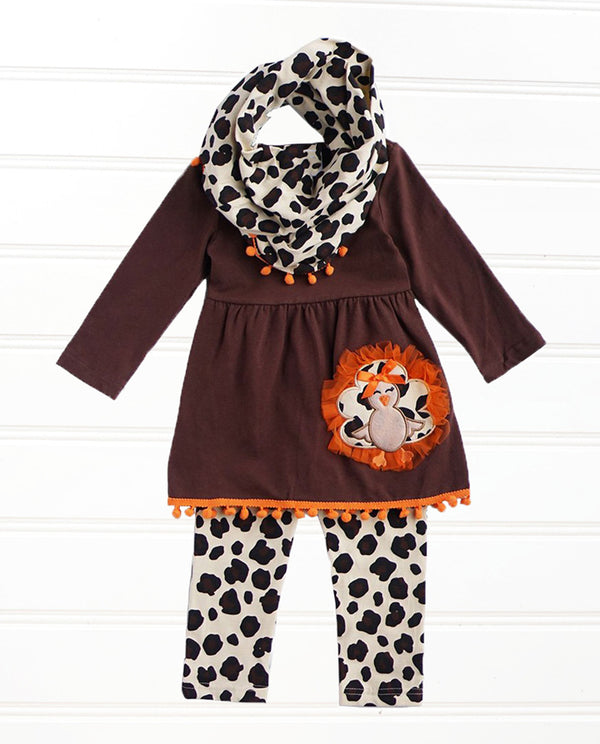 Girls Leopard Turkey 3 Piece Scarf Set