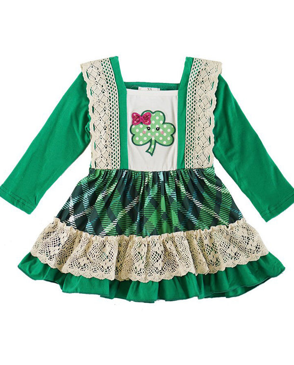 Girls' Green Clover Applique Dress