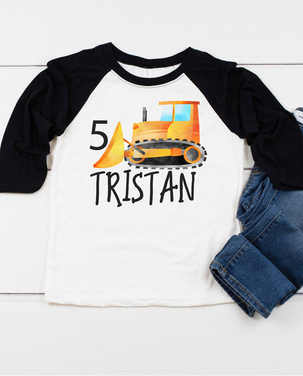 boys construction bulldozer birthday raglan shirt