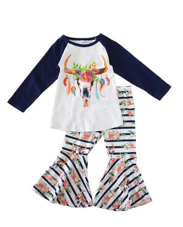 Cow Skull Navy Stripes and Floral Bell Set
