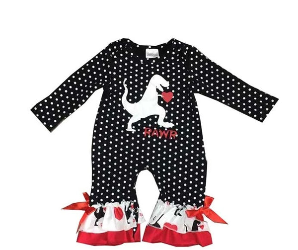 Infant Girls' Polka Dot Dinosaur Romper