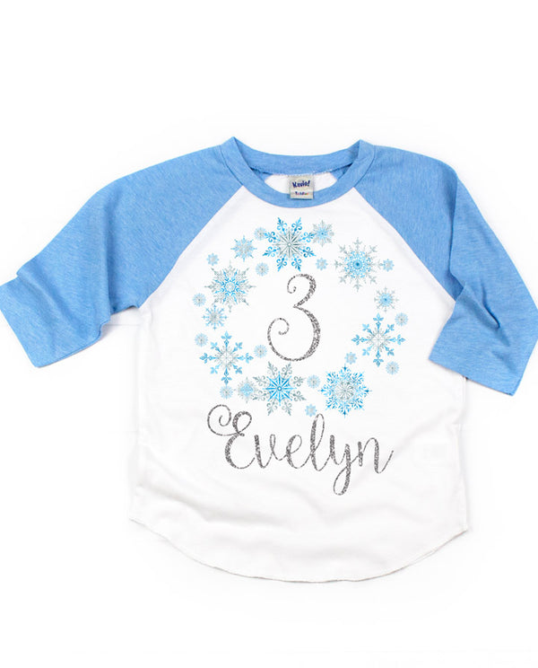 Frozen Snowflake Birthday Raglan Tee- Blue and Silver