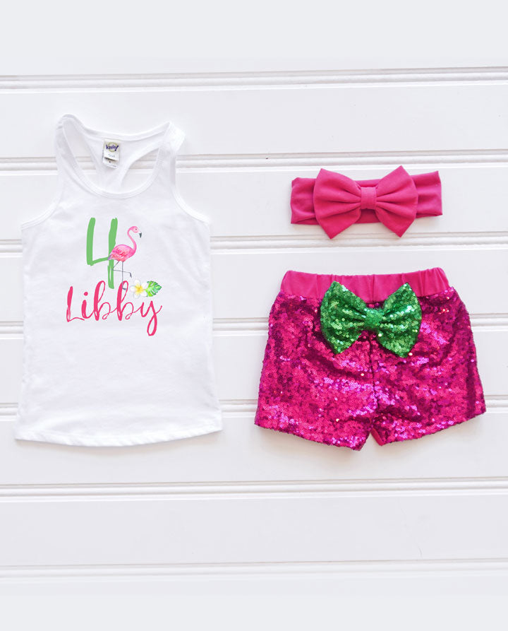 Girls Personalized Flamingo Birthday Outfit, Sequin Birthday Outfit, Luau Birthday Outfit