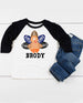 Boys' Personalized Thanksgiving Football Turkey Raglan Shirt