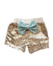baby girls gold and mint sequin shorts