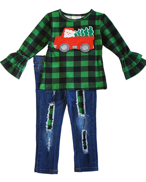 Girl's Santa Truck Green Plaid Denim Set