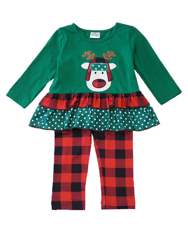 Girls' Green and buffalo plaid ruffle reindeer outfit