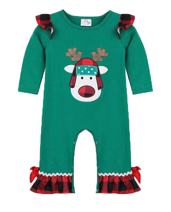 Infant Girls Green and Buffalo Plaid Reindeer Ruffle Romper