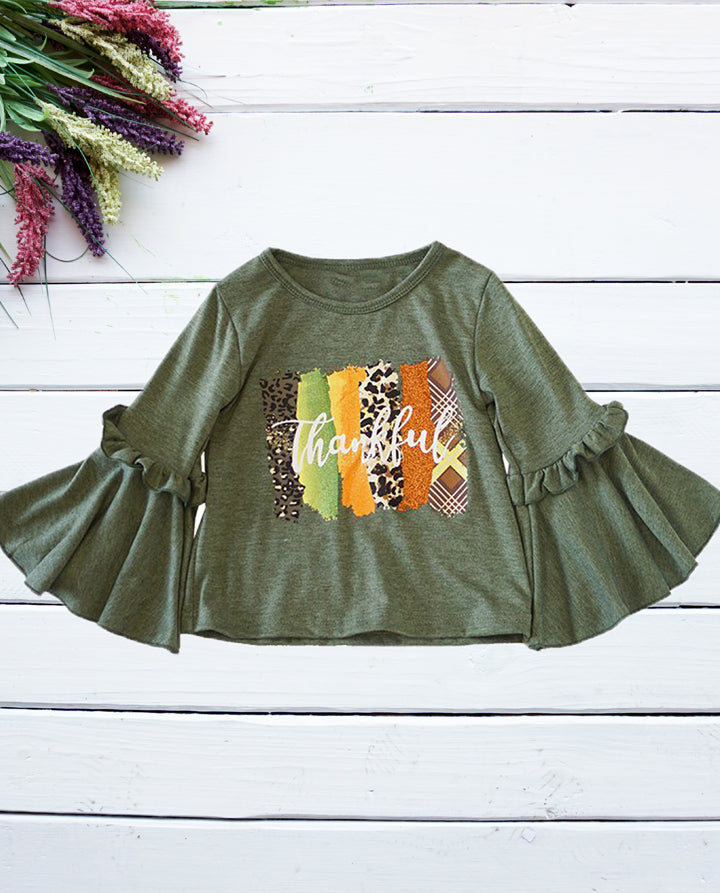 Girls Thankful Olive Green Bell Sleeve Top