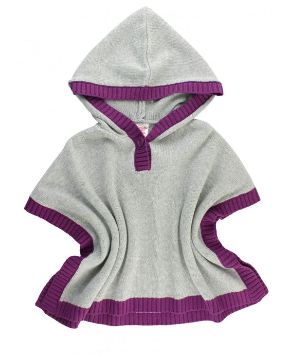 Rufflebutts Gray and Plum Sweater Cape- Girls' Poncho