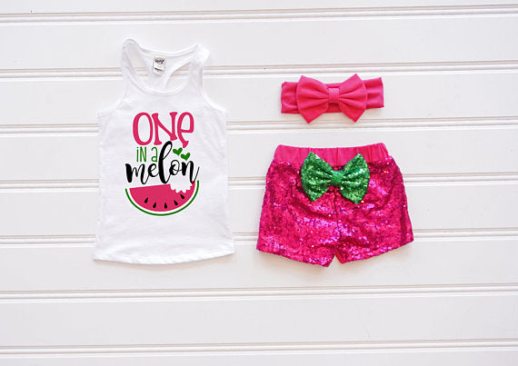 One in a melon sequin outfit- watermelon first birthday outfit
