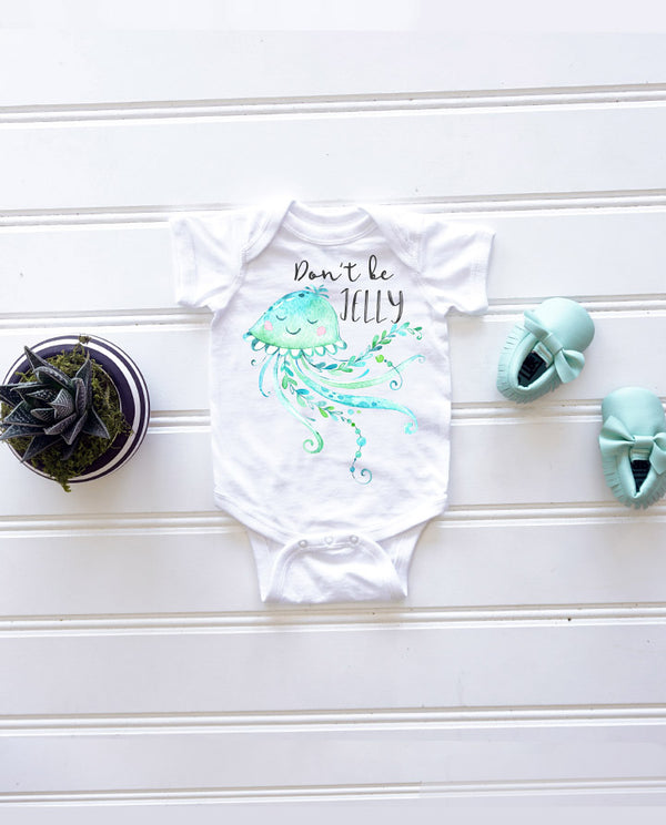 Don't be jelly onesie, baby girl onesie, funny onesie, newborn onesie, baby shower gift, baby gift, under the sea shirt