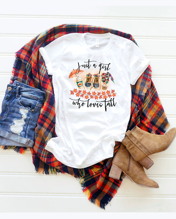Womens' Just a Girl Who Loves Fall Shirt