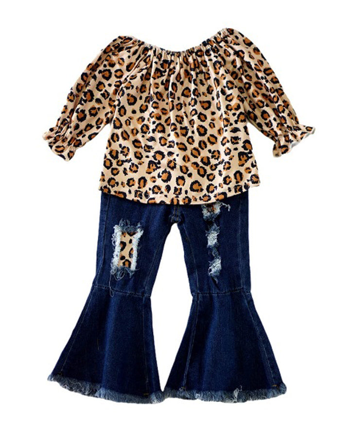 Leopard Denim Bell Bottom Set