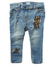 Girls' leopard distressed denim jeans, poppies lace jeans