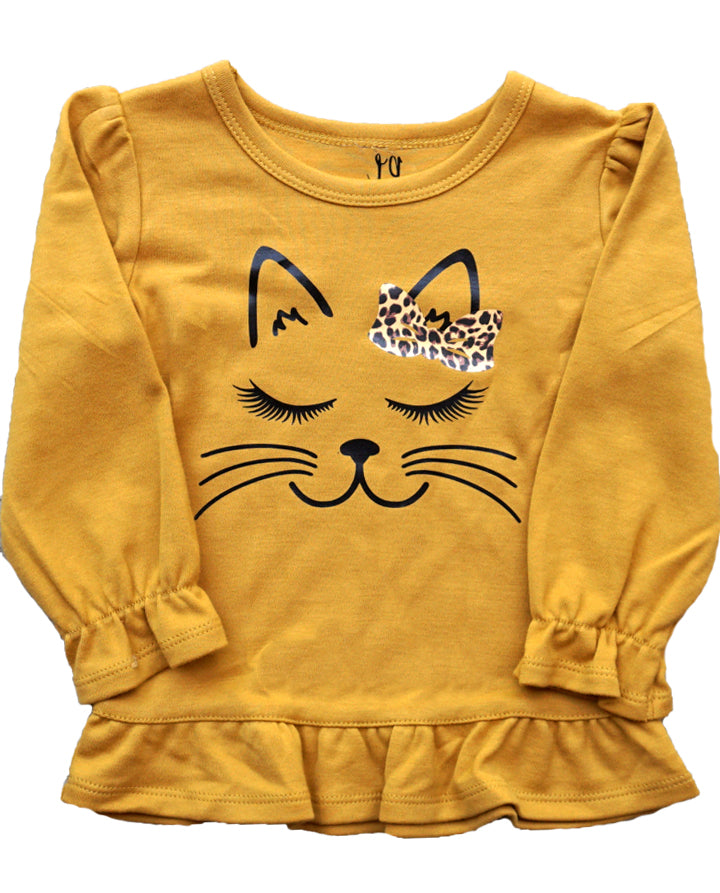 Leopard Kitty Ruffle Shirt-Mustard