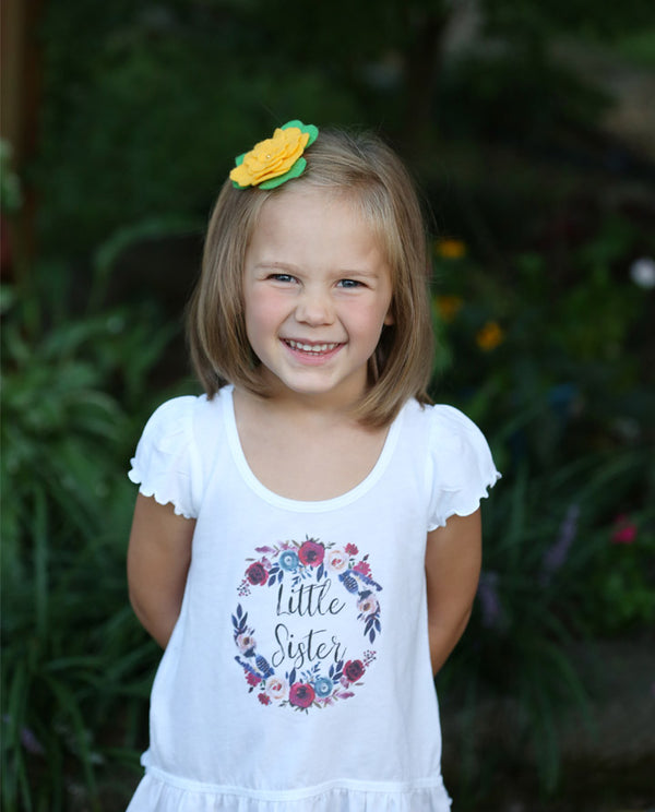 little sister floral wreath ruffle shirt, big sister announcement shirt, Big Sister Little Sister Shirt Set