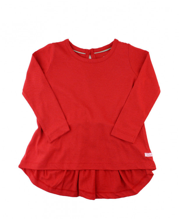 Rufflebutts Red Long Sleeve Bow Back Top