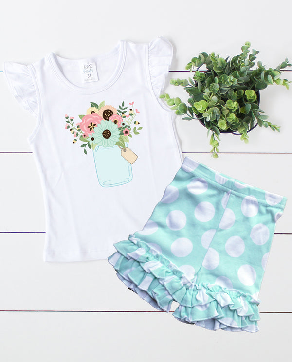 Spring Floral Mint and White Polka Dot Outfit