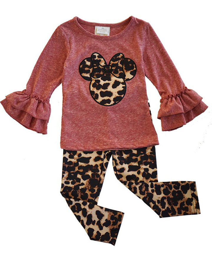 Girls' Mauve and Leopard Minnie Bell Sleeve Outfit