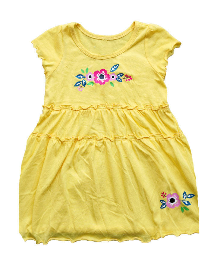 Mexican Floral Dress-Yellow