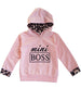 Girls' Mini Boss Pink and Leopard Hoodie