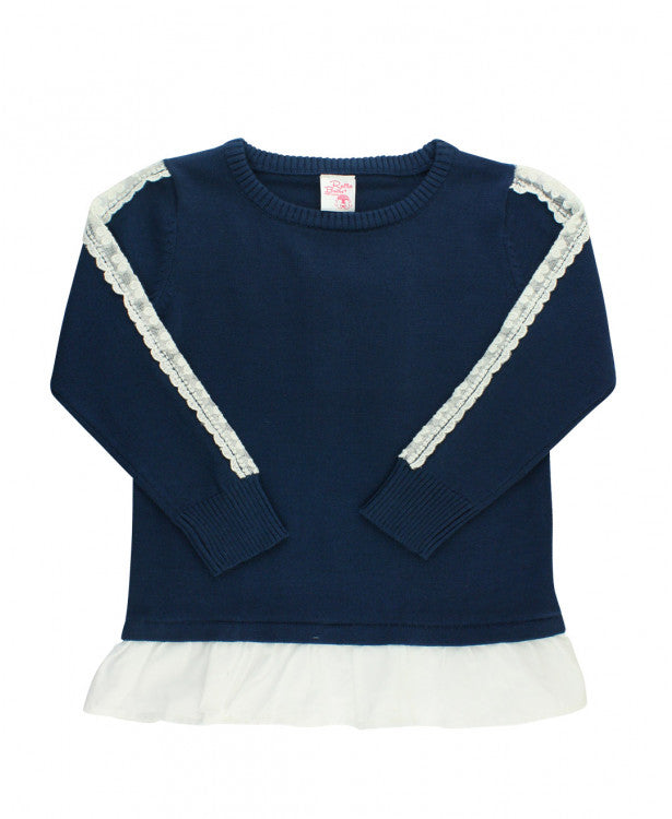 Rufflebutts Navy and Lace Sweater, Girls' winter sweater