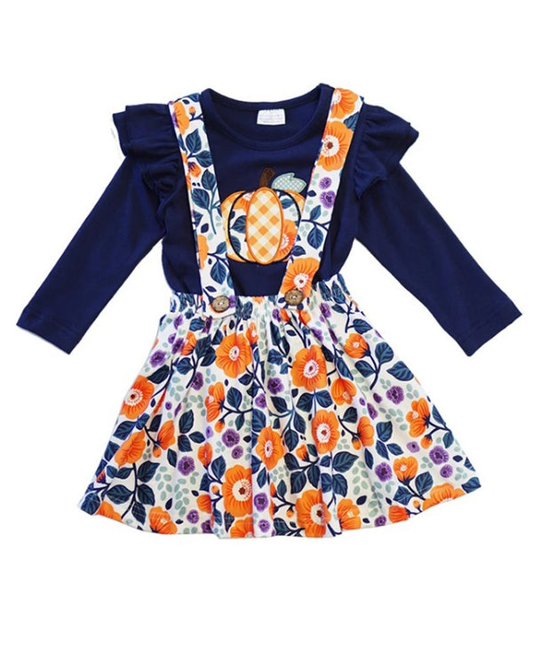 Toddler Girls Navy and Orange Fall Floral Pumpkin suspender skirt set