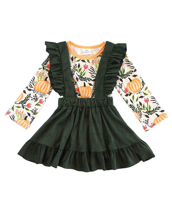 Girls' Olive Pumpkin Suspender Skirt Set