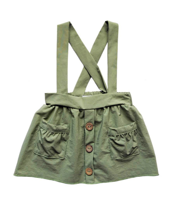 Pleated Suspender Pocket Skirt- Olive