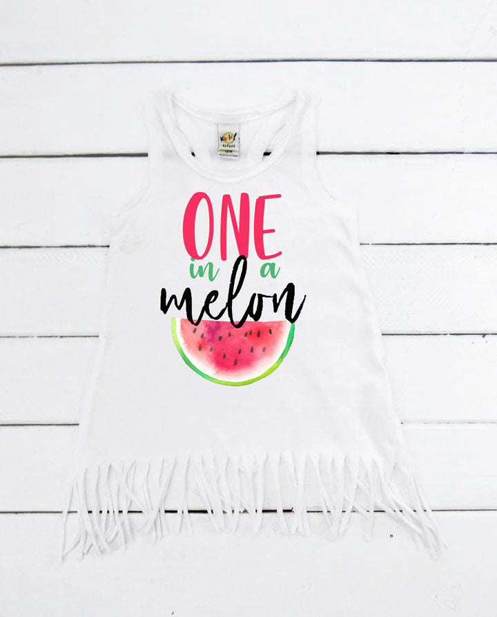 One in a melon fringe dress, one in a melon birthday outfit, girls watermelon birthday outfit