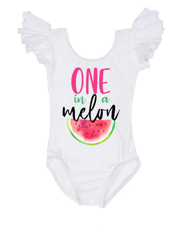 poppies & lace one in a melon birthday leotard, watermelon first birthday outfit