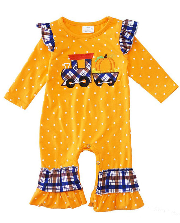 Infant Orange Tractor Romper