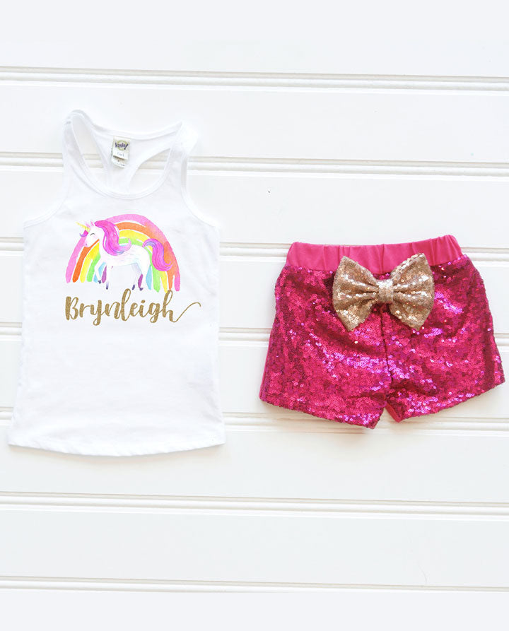 Girls Personalized Rainbow Unicorn Birthday Outfit, Unicorn Sequin Outfit