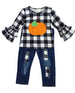 Girl's Pumpkin Plaid Denim Set