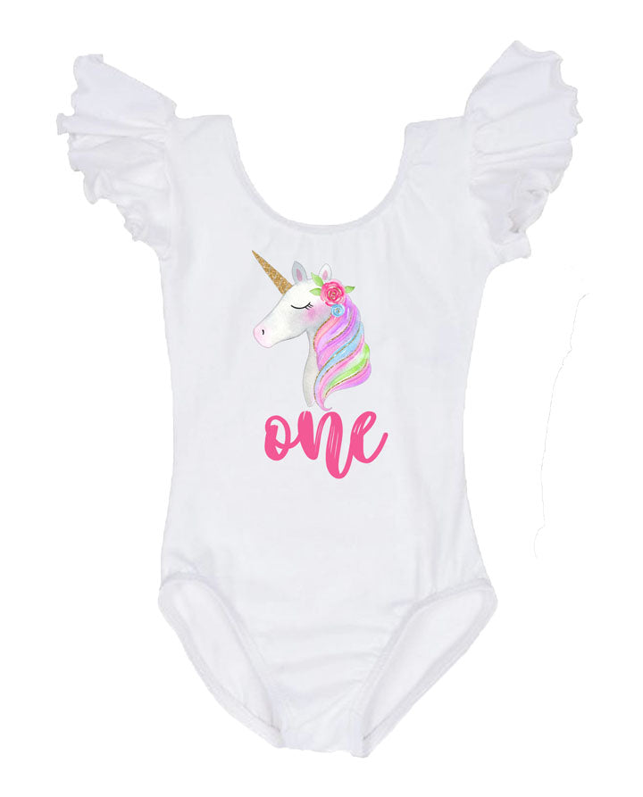 rainbow unicorn birthday leotard, unicorn first birthday outfit, birthday girl outfit, baby girl leotard