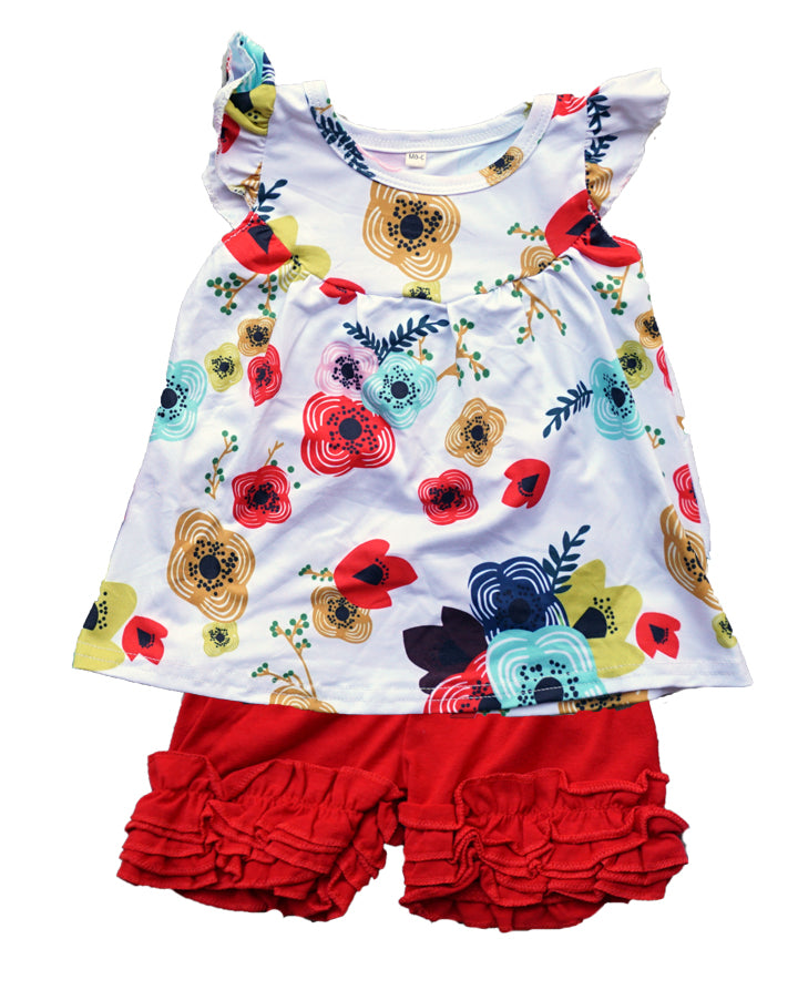 baby girl red floral ruffle outfit