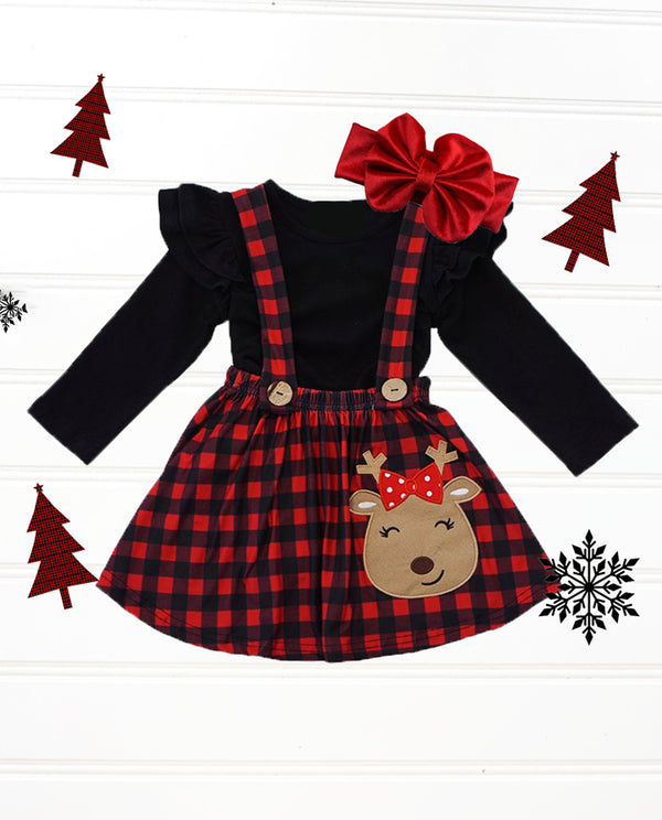 Toddler girls' red buffalo plaid reindeer suspender skirt