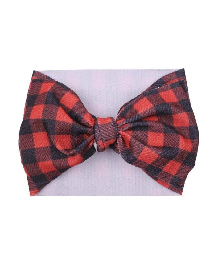 Red Buffalo Plaid Waffle Bow Headband